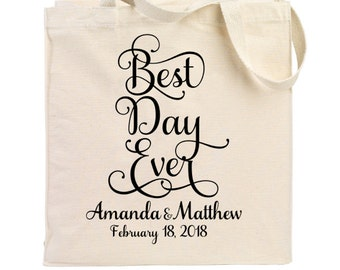 cotton canvas tote cotton tote best day ever wedding tote