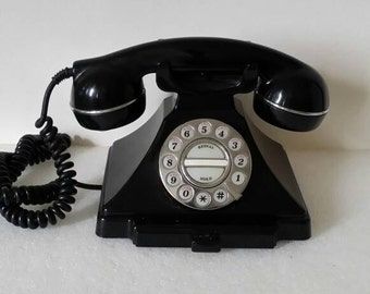 Black  Vintage  Phone Retro  Telephone   Push Button