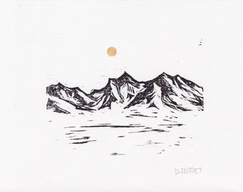 Mountain, nature inspired relief prints