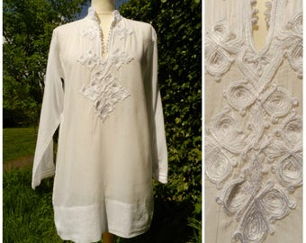 90s white COTTON gauze Marrakech Moroccan embroidered tunic top M ~ L