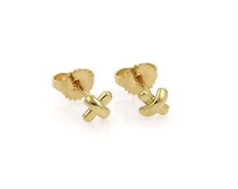 18522 - Tiffany & Co. Mini Stitch Studs Cross Earrings in 18k Yellow Gold