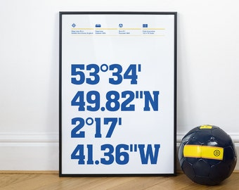 Bury Football Stadium Coordinates Posters