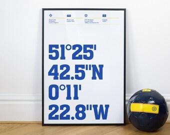 Wimbledon Football Stadium Coordinates Posters