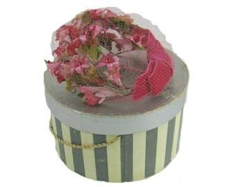 Vintage Pink Floral Hat Fascinator with Netting, Hatbox Included, Easter Hat