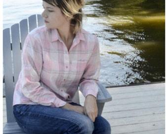 Diane Von Furstenburg Plaid Pink Button Down