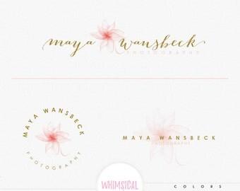 Crystal Flower Logo - Premade Photography Logo and Watermark, Classic Elegant Script Font gold glitter dandelion children Calligraphy Logo