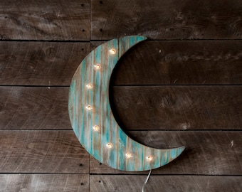Wood Moon Marquee Light