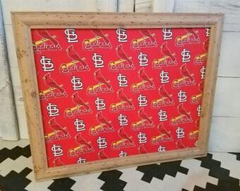 Cardinals Fabric Cork Board Man Cave Framed Bulletin Board READY TO SHIP Boys Room Memo Board