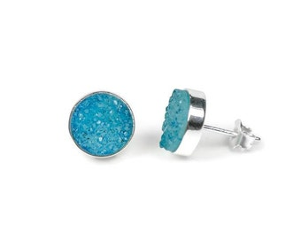 11mm Round Sterling Silver Genuine Druzy Agate Earrings -  Bright Blue
