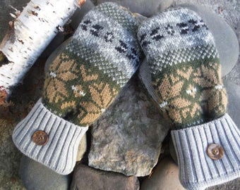 Sweater Mittens, made from recycled or upcycled sweaters taupe, gray, black Nordic design, lined with warm polartec - warmer than fleece