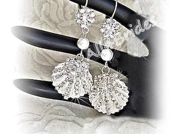 Seashell Rhinestone Crystal Earrings - beach wedding bridal or bridesmaids jewelry