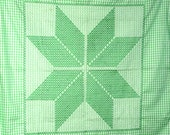 Gingham Tablecloth Green White Checkered Cotton Farmhouse Fabric Embroidered Spring Tablecloth KITCHEN Picnic Table Cloth Green Checks
