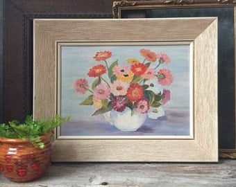 Framed Floral Still Life Painting | Pink Red and Yellow Zinnias in Wood Frame | Vintage Oil Painting | Summer Bouquet Cottage Chic