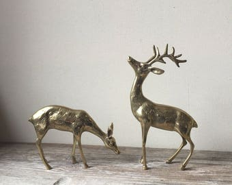 Solid Brass Deer Set | Vintage Solid Brass Deer Figurines | Woodland Buck and Doe Brass Animals | Woodland Set of 2 Deer | Cabin Decor