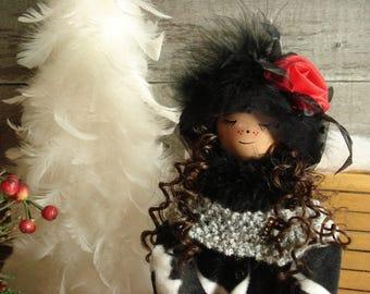Decorative doll handmade wood and textile, Amélie. #170