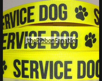 "5 yds 7/8"" Service Dog in Yellow Dog Collar Grosgrain Ribbon"