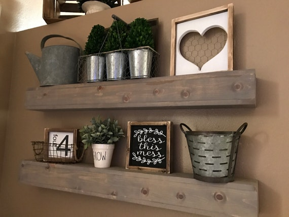 Floating shelves wood shelf farmhouse shelf