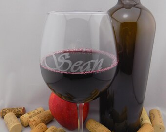 SUMMER SALE ends 8/30 5.99 Personalized Custom Engraved 18oz Red Wine Glasses. Fast Shipping!