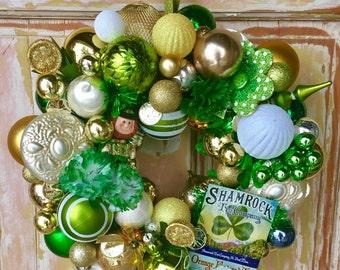 SALE St. Patrick's Day wreath; Shamrock wreath; Irish Wreath; Ornament wreath; Green and White Wreath