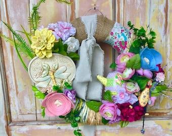Clearance Garden wreath; vintage decor wreath; Summet wreath; felt flower wreath; Burlap wreath; dragonfly wreath