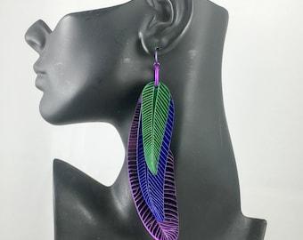 Feather Earrings Mirror Parrot Mardi Gras Carnival Purple Blue Green