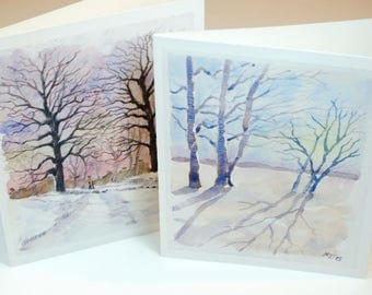 Set of two greeting cards TREES winter watercolor landscapes anniversary birthday wedding cards blank interior valentine's day love