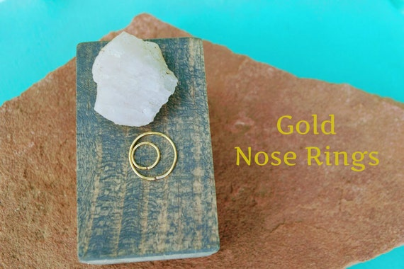 Gold Nose Ring - 20G Nose Hoop - 22G Nose Rings - 24G Nose Ring -  Egyptian Hoop - Tiny Hoop - Small -Loose Nose Jewelry