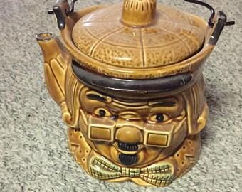 Vintage Ben Franklin Ceramic TeaPot with wire bail handle