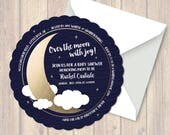 Baby Shower Invitation, Over The Moon, digital file
