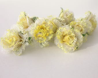yellow flower bobby pins, wedding accessories, bridal flowers, Set of 8