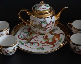 FREE SHIPPING, Vintage, Japanese Dragon Tea Set