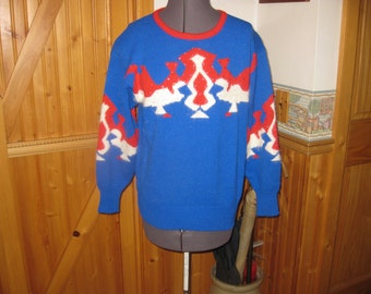 Vtg BOLD Pattern angora sequin acrylic  70s Red Blue funky sweater small Angenie free ship sweet vintage for sure