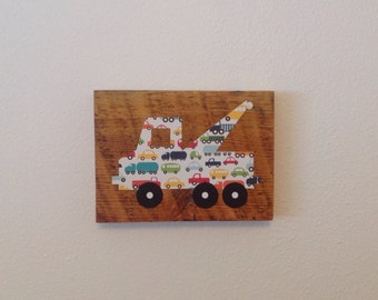 Tow truck on reclaimed wood