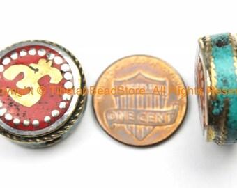 1 BEAD Om Mantra Reversible Tibetan Bead with Brass, Turquoise, Coral, Tibetan Silver Inlays- Om Beads Nepal Tibetan Beads- B3151-1