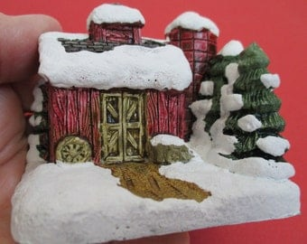 Christmas Village American Rustic Miniature Figurine Barn with Silo RSVP International  Christmas Village Collection 1989 Cold Cast Barn