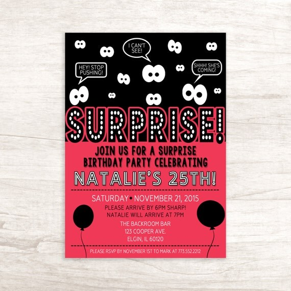 Surprise Birthday Party Invitation For Men And Women