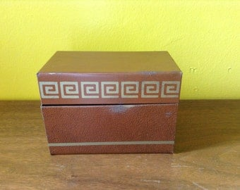 Vintage Stocking Stuffer Tin Recipe Box Greek Key Brown Gold