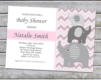 Girl Baby Shower Invitation Pink Gray Elephant Baby Shower Invitation Baby Girl Shower Invitation Printable (L12) / Instant Download