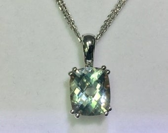 sterling silver and 18k gold lab created green amethyst pendant and double strand chain