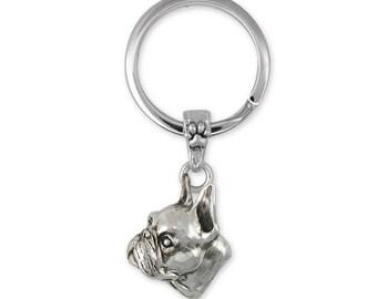 Boston Terrier Key Ring Jewelry Sterling Silver Handmade Dog Key Ring BO2-KRE