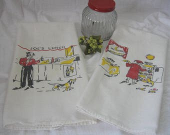 Pair Of Vintage Kitchen Towels, Retro Kitchen Towels, 50's Towels From Made Of Flaws
