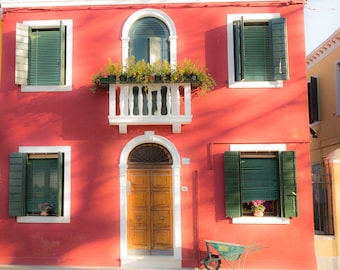 Burano, Italy, Venice Stucco Houses, Terracotta Houses, Cottage Houses, Venice Photography