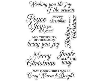 Hero Arts JINGLE ALL The WAY Merry Christmas Messages Stamp Set Clear Acrylic Stamp Set Cl722 1.cc22
