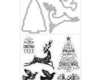 REINDEER TREE DOVE Stamp and Cut Die Set by Spellbinders Art-C die 25270 R7 1.cc22