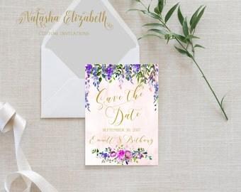 Digital Save the Date Purple Floral Watercolor Printable Invitation Invite Pink Flowers Botanical Amethyst Plum Eggplant