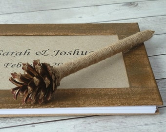 Pine Cone Pen Rustic Wedding Pen Guest Book Pen Woodland Wedding Reception Decor Country Wedding guest book Pen Wedding Gift