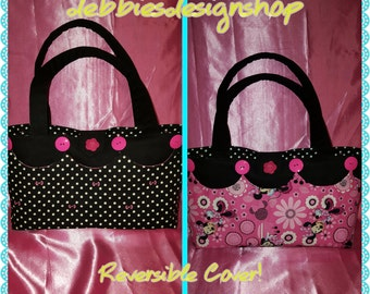 Purse, handbag, tote with reversible/removable cover - Minnie Mouse, Bows,Polka Dots