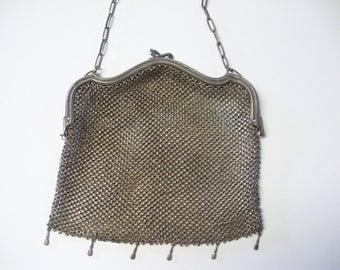 Antique Purse, Vintage Purse, German Silver Purse, Mesh Metal, Vintage Mesh Purse, Silver Mesh Purse, Antique Hand Bag, Vintage Hand Bag