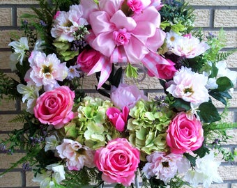 Hydrangea Wreath, Rose Wreath, Peony Wreath, Spring Wreath, Summer Wreath, XXL Door Wreath, Wall Wreath, Home Decor