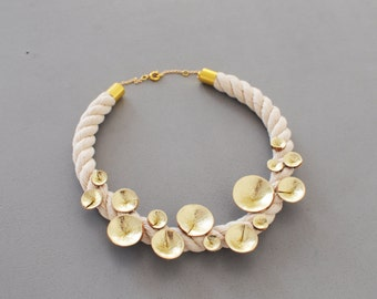 Handmade white rope and gold leather cone collarbone necklace